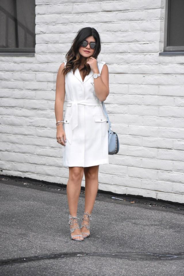 LOOK OF THE DAY. WHITE SHIFT DRESS VIA BAR III