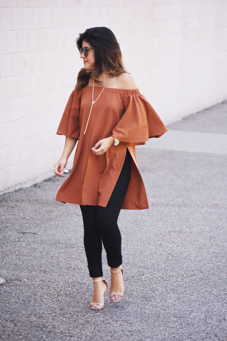 Off the shoulder rustic orange top