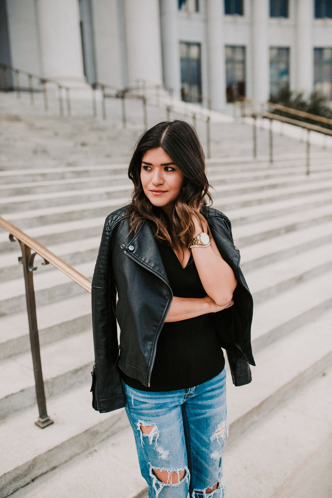 Carolina Hellal of Chic Talk wearing a topshop faux leather jacket