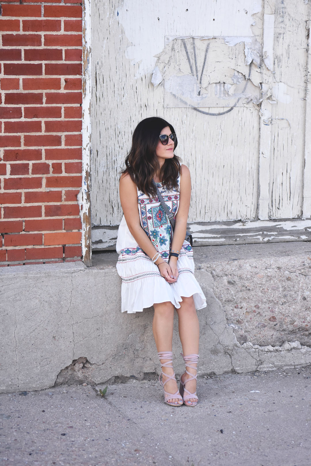 Carolina Hellal of Chic Talk wearing a Chicwish white summer dress with Public Desire lace up sandals