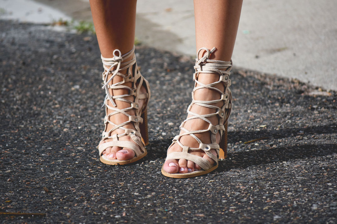Lasula boutique beige lace up sandals with chunky heel