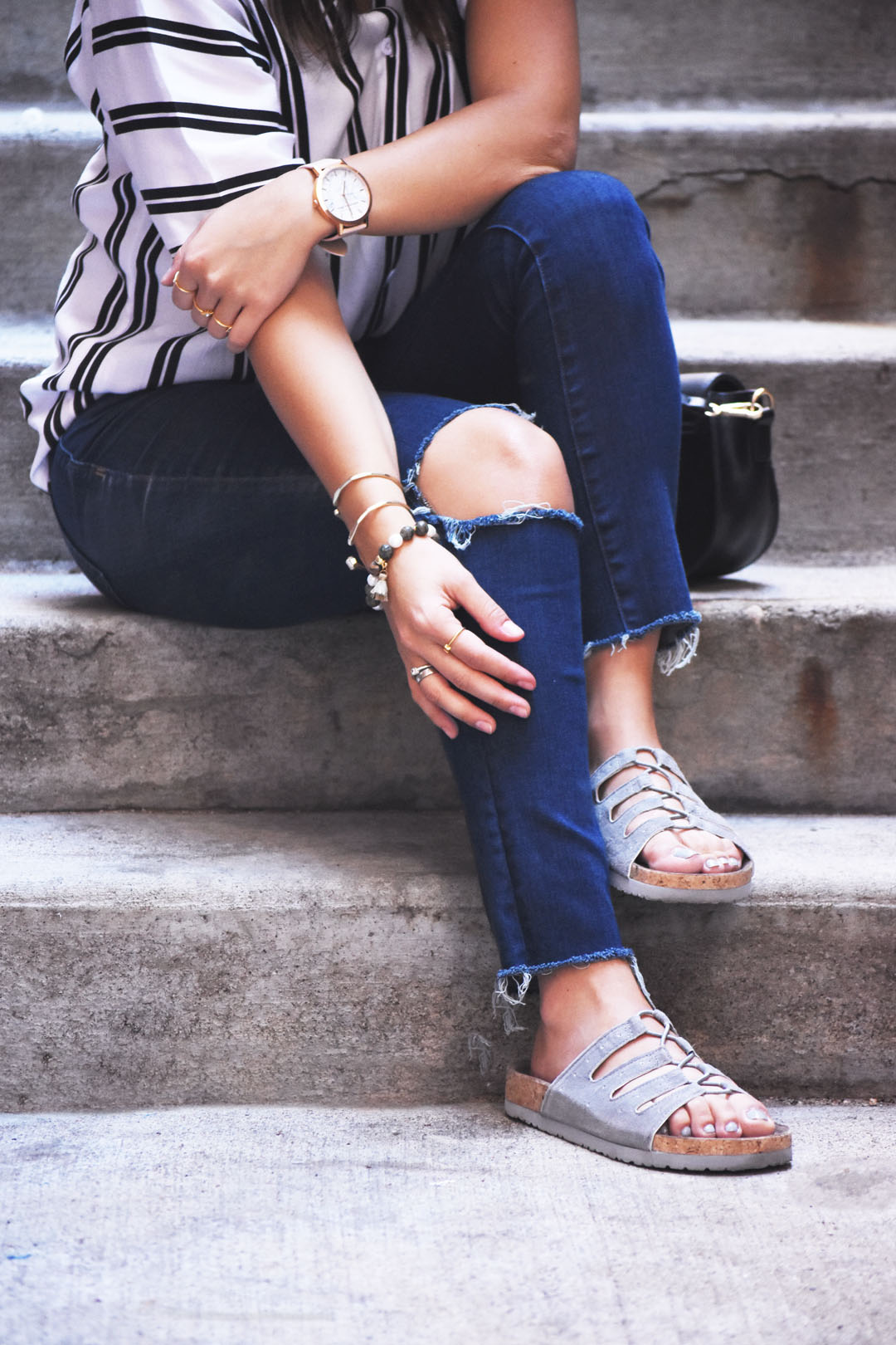 Madewell jeans and skechers grey sandals