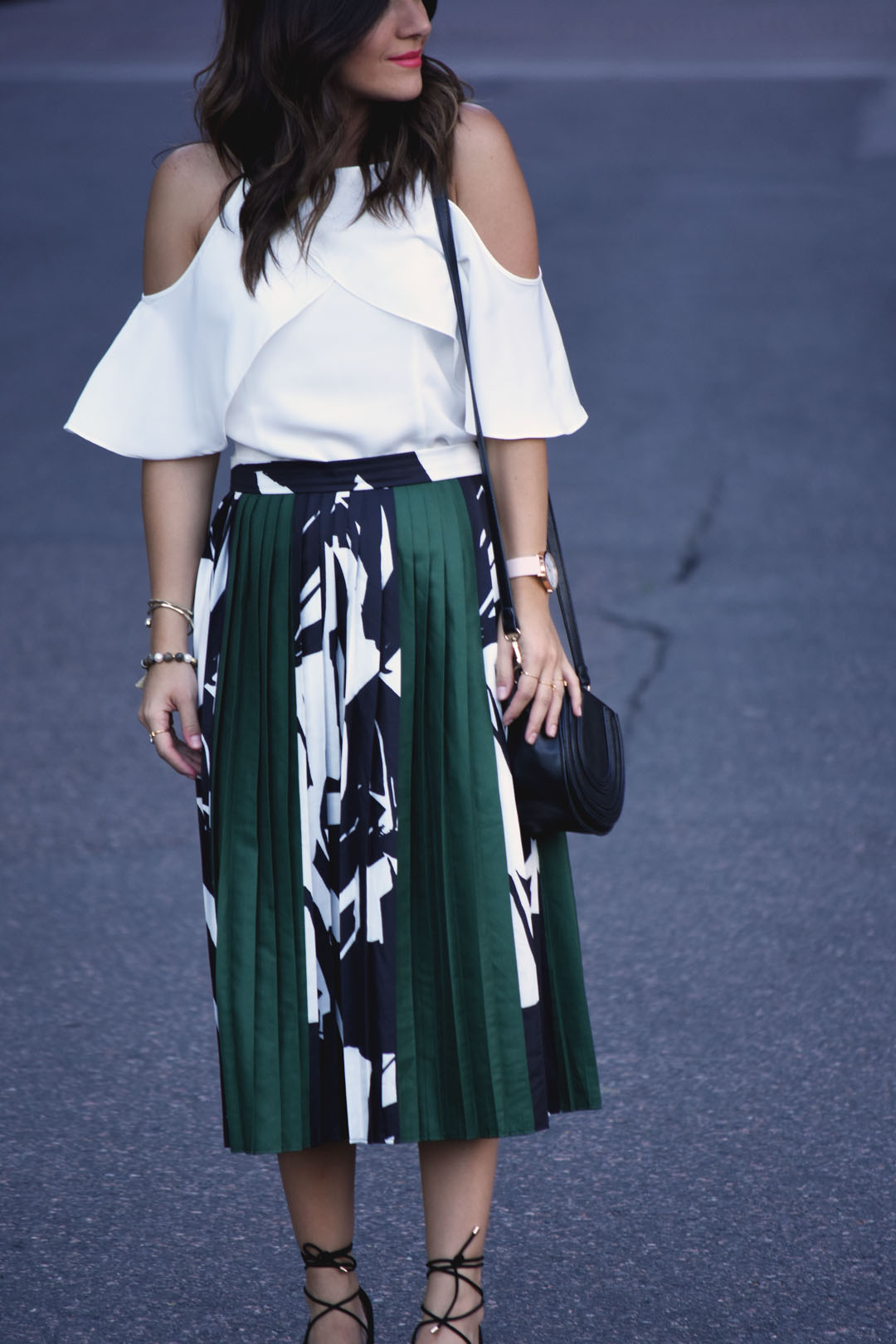 Chicwish pleated green skirt and cold shoulder white top