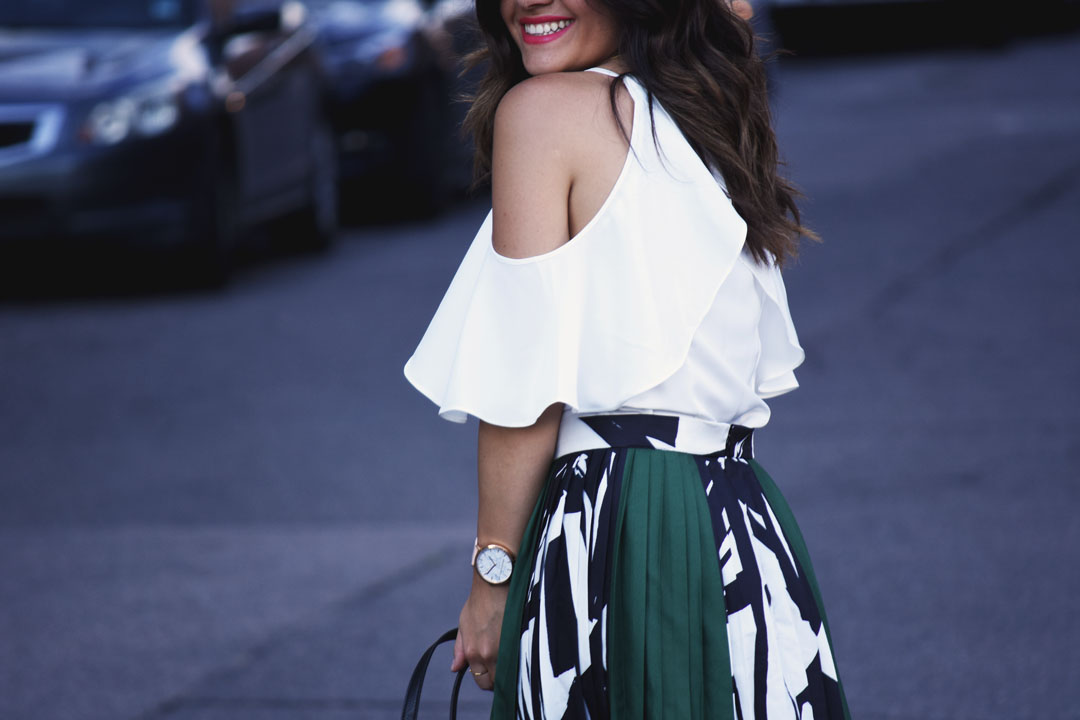 Carolina Hellal of Chic Talk wearing Chicwish cold shoulder white top