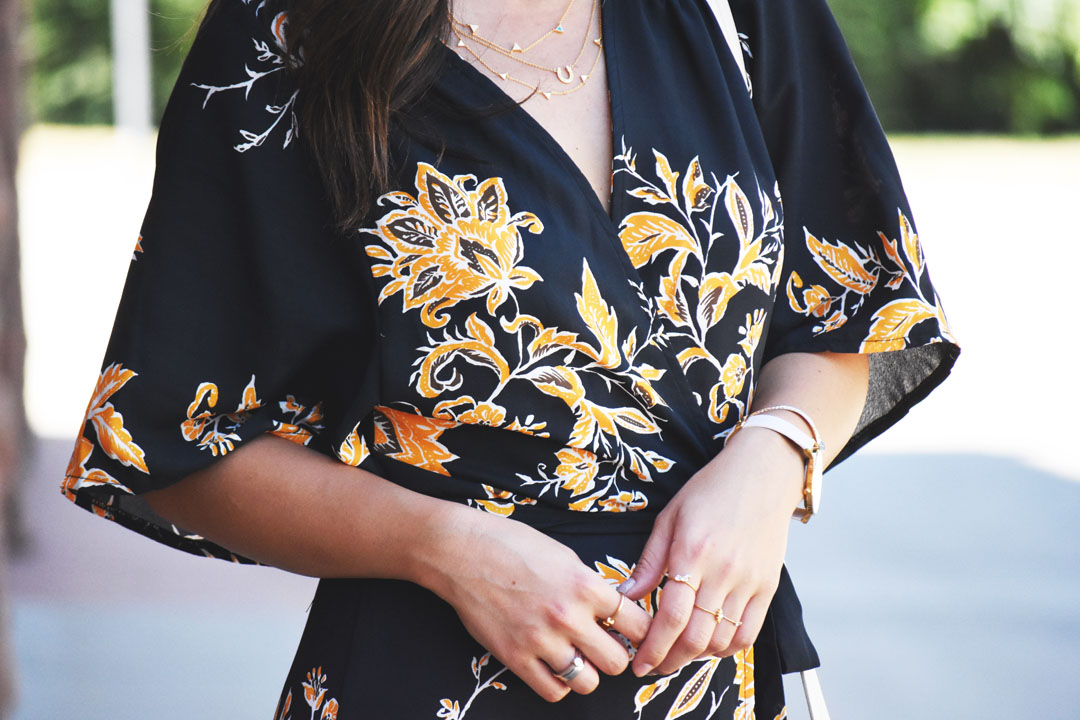 SheIn wrap floral dress and Gorjana gold dainty necklace.