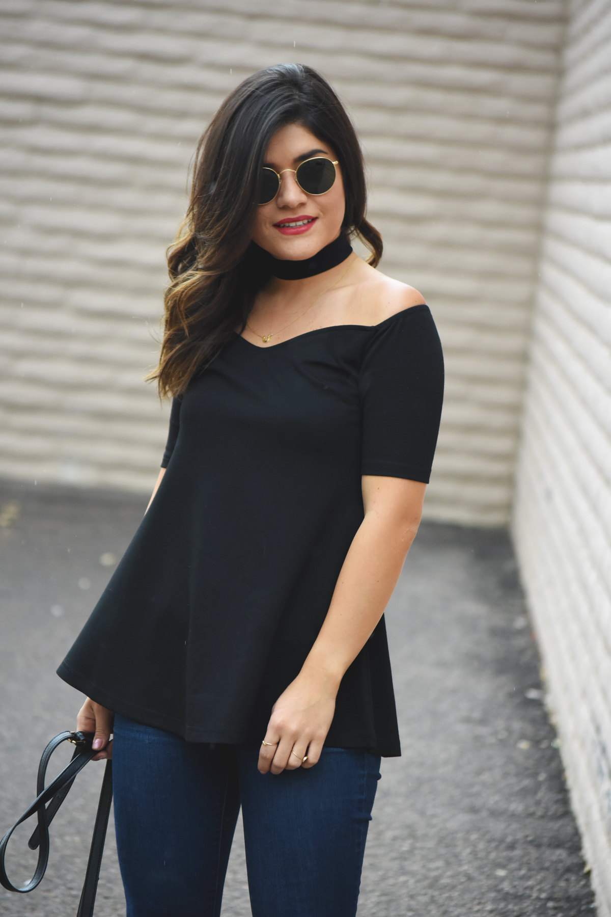 Chicwish black top with choker