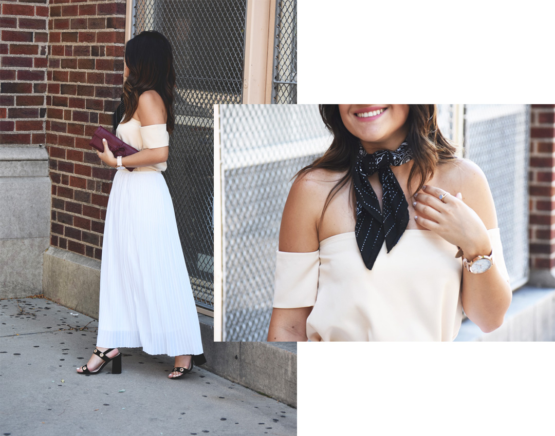 Carolina Hellal of Chic Talk wearing a beige off the shoulder top, Kensie white midi skirt, h&m black bandana and Public Desire sandals