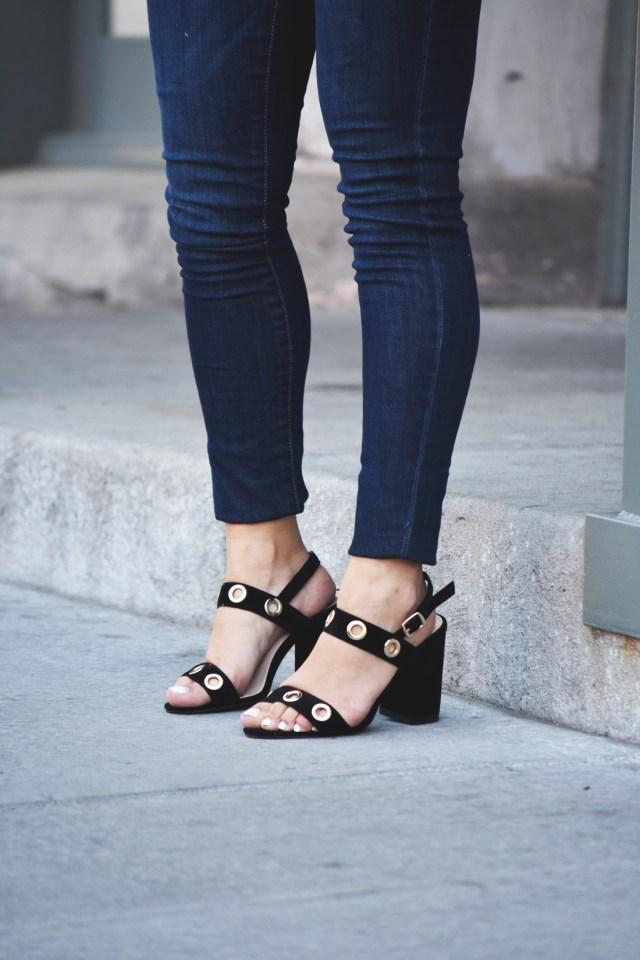 Public Desire black sandals, and Old Navy Rockstar skinny jeans