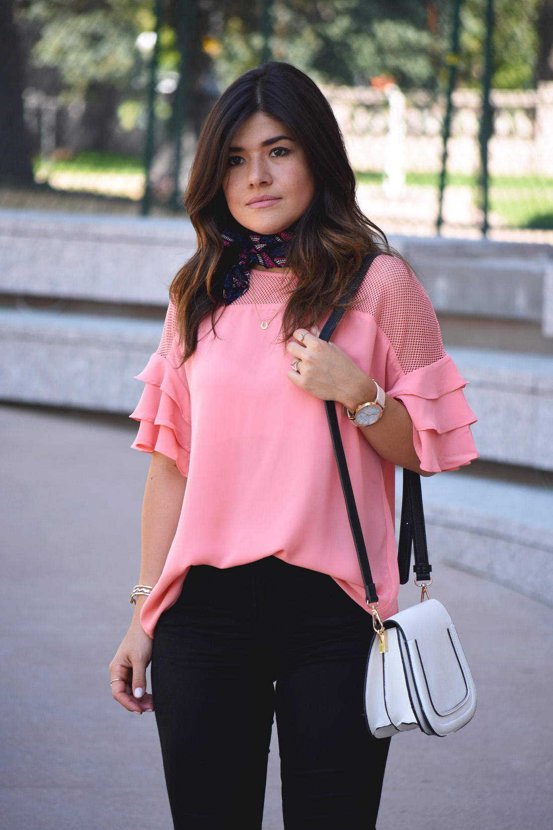 Carolina Hellal of Chic Talk wearing a VIPme pink top with ruffles and mesh.