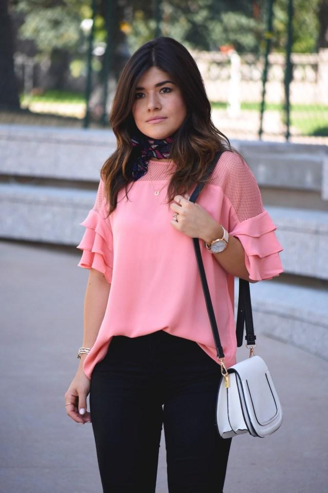 Carolina Hellal of Chic Talk wearing a VIPme pink top with ruffles and mesh.