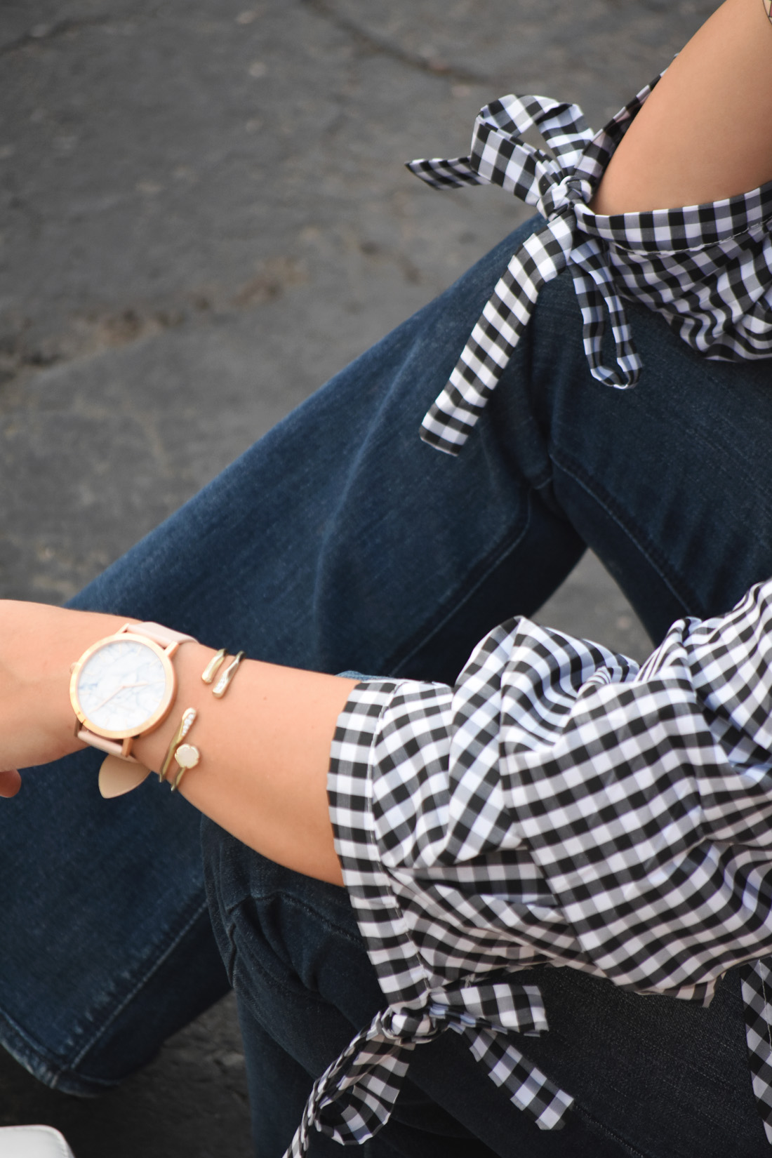 Chicwish gingham top sleeve details