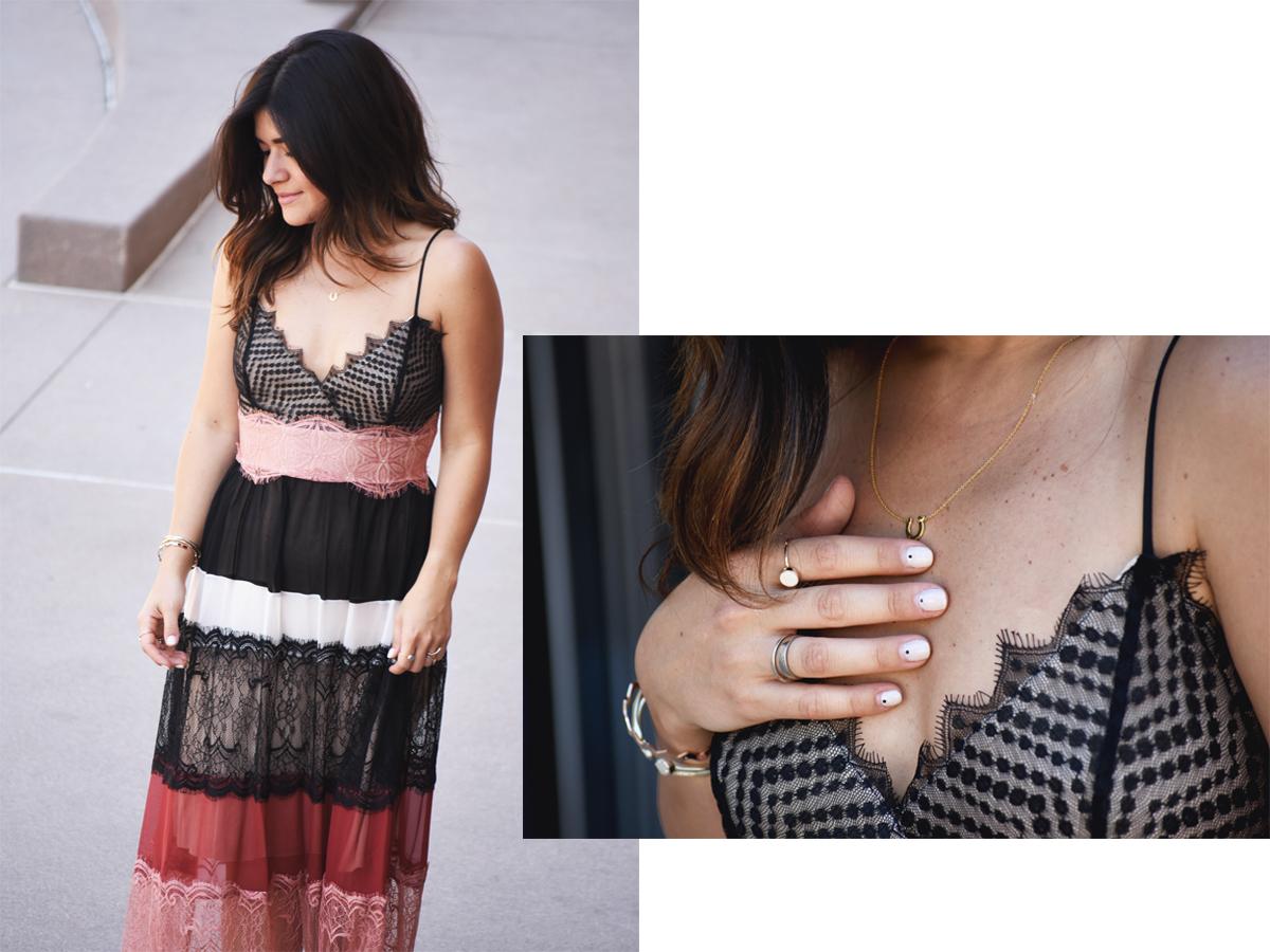 Carolina Hellal of Chic Talk wearing a Bailey44 lace maxi dress , Kendra Scott Gold bracelets, and a Gorjana dainty gold necklace.