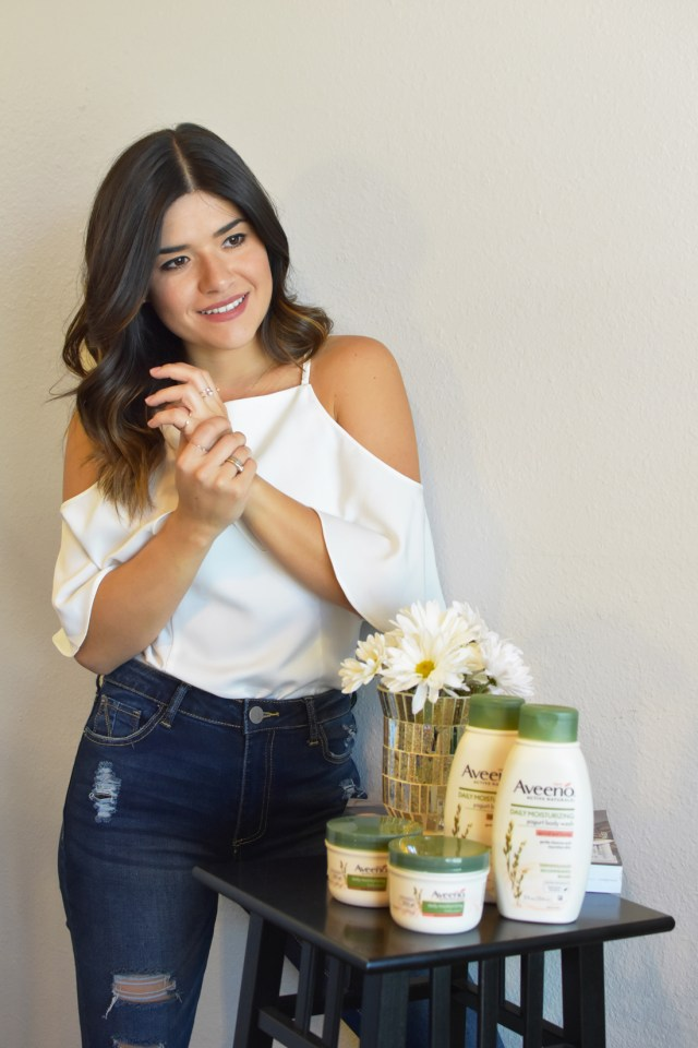 Carolina Hellal wearing the new Aveeno yugurt lotion and body wash