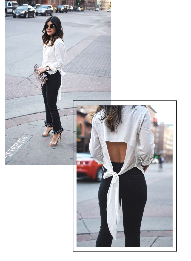 Carolina Hellal of Chic Talk wearing Dezzal frayed jeans, a Chicwish open back top and Steve Madden sandals