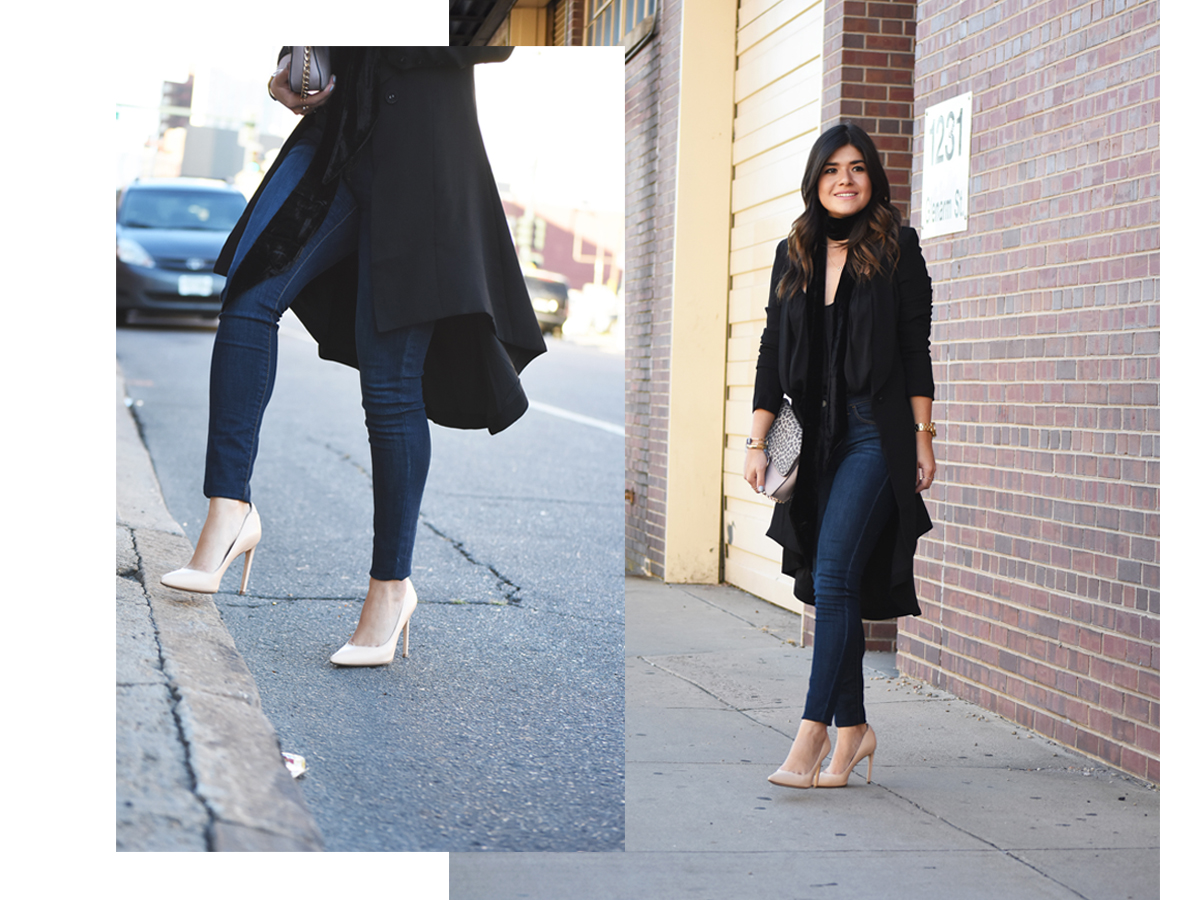 Carolina Hella of Chic Talk wearing a Tobi black long blazer, Sam Edelman nude pumps, Old Navy skinny jeans and h&m neck scarf and top