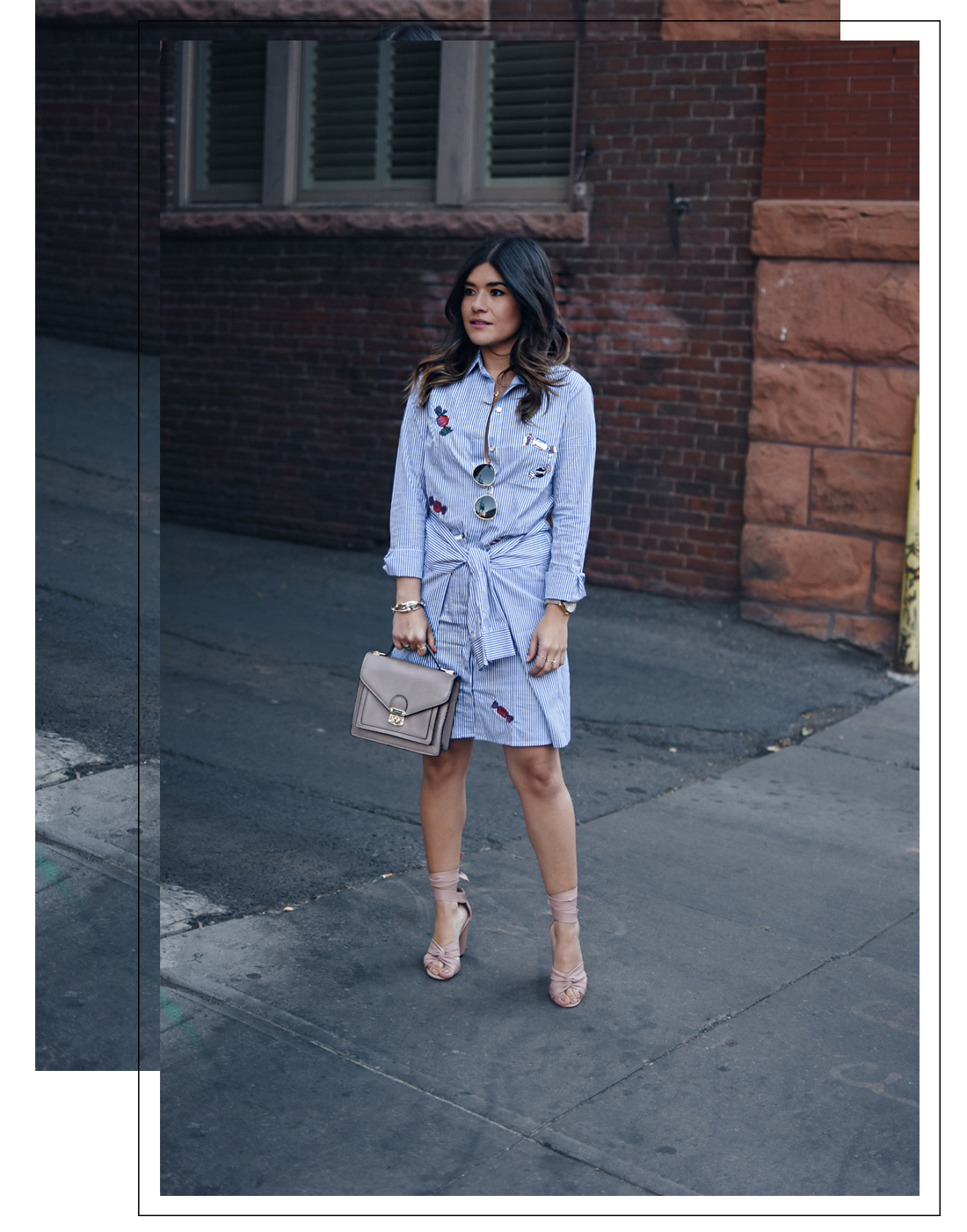 Carolina Hellal of Chic Talk wearing a stripped wrapped dress with patches, Rayban sunglasses, and Topshop rounded sunglasses