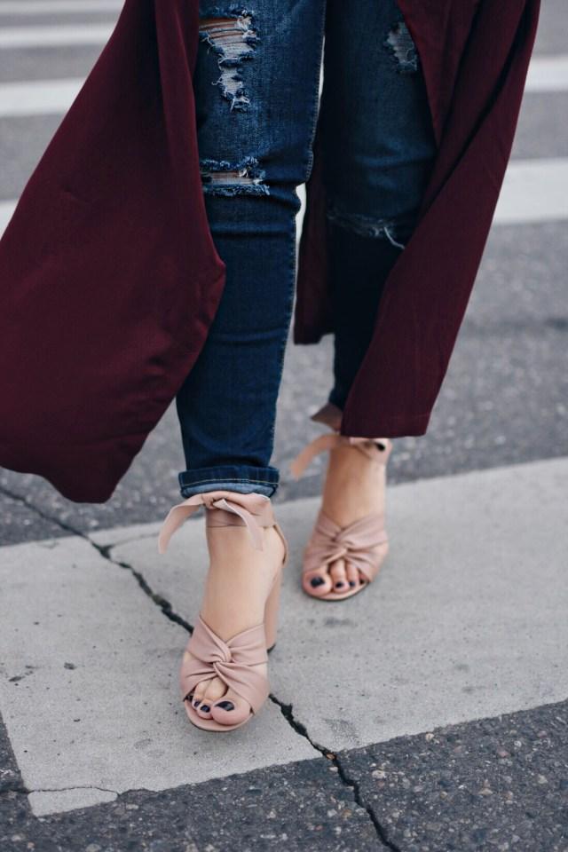 Topshop lace up blush sandals