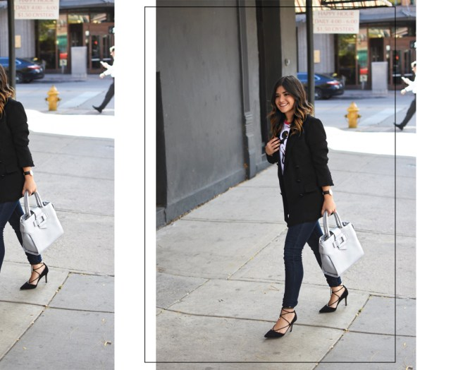 Carolina Hellal of Chic Talk wearing light grey VIPme faux leather bag