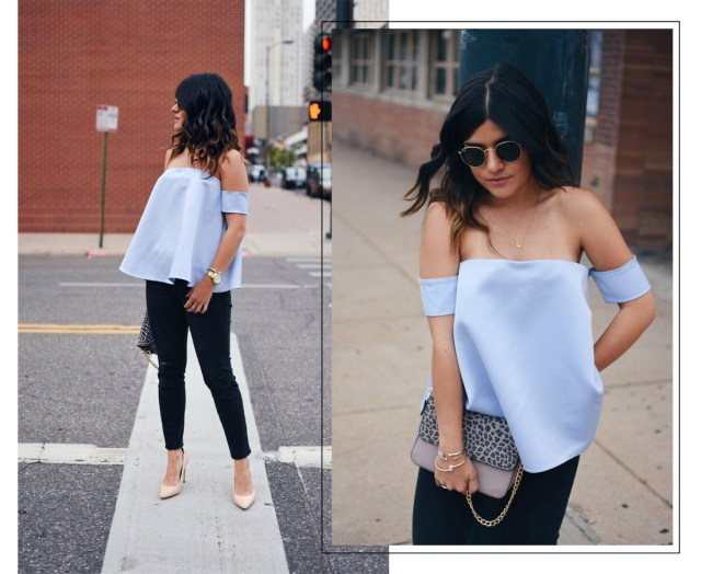 Carolina Hellal of Chic Talk wearing a chicwish straples top, madewell jeans and Sam Edelman nude pumps