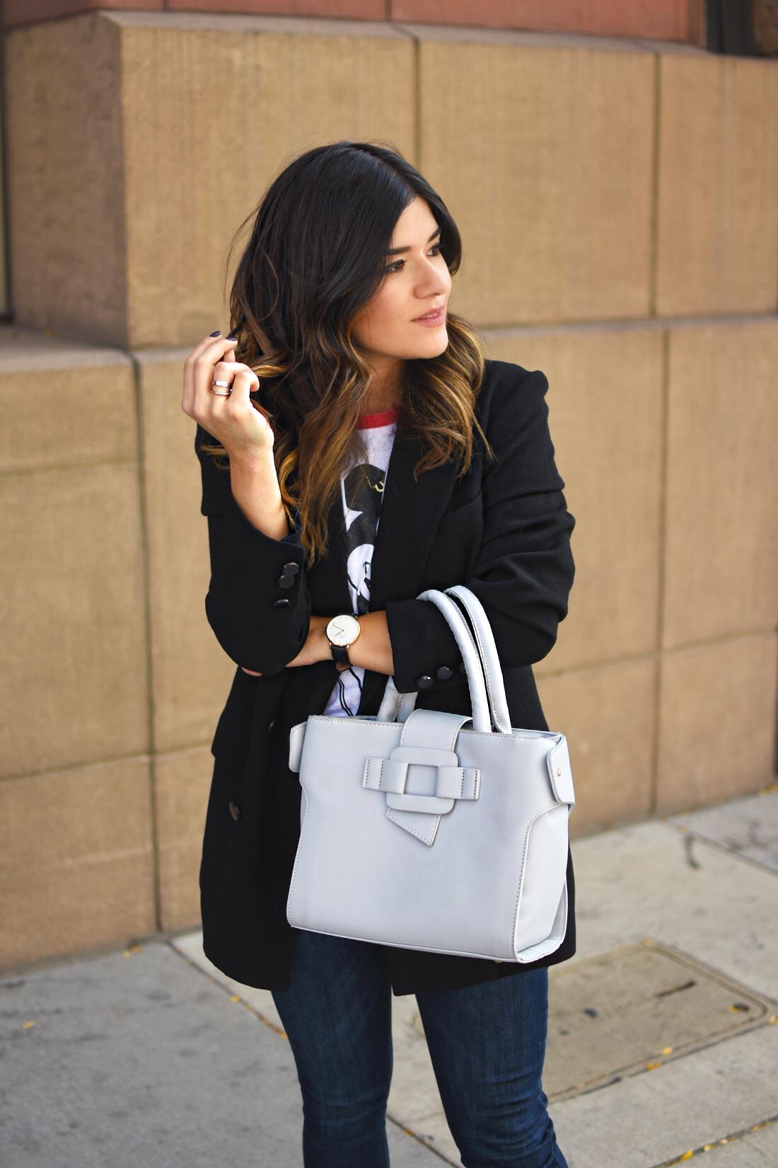 Carolina Hellal of Chic Talk wearing a VIPme grey bag, Vintage black boyfriend blazer and Mickey Mouse t-shirt