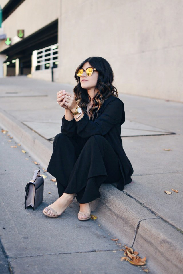 Carolina Hellal of Chic Talk wearing Nordstrom mirror sunglasses, Shein bell bottom pants, Forever21 black chiffon top and Steve Madden nude strap sandals