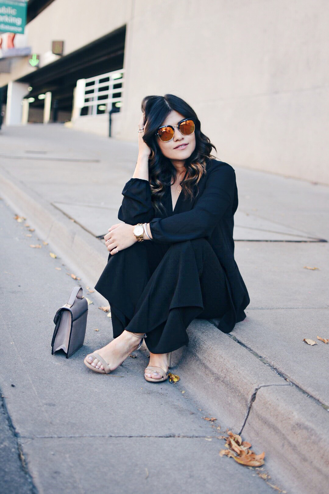 Carolina Hellal of Chic Talk wearing a Forever21 black chiffon top, SheIn bell bottom pants, Kensie black vest and Steve Madden nude strap sandals