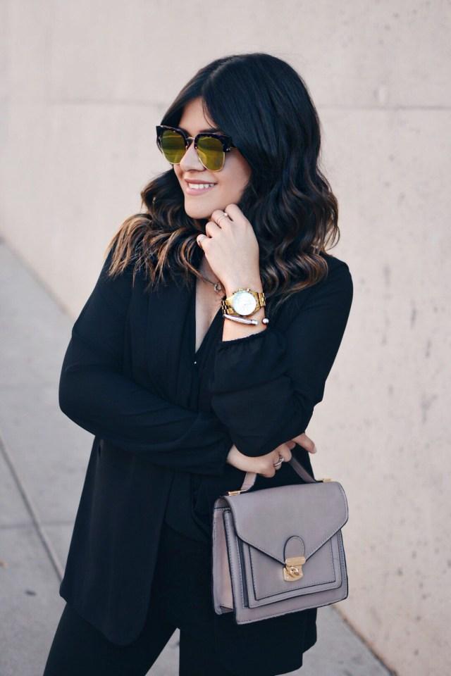 Carolina Hellal of Chic Talk wearing orange mirror sunglasses