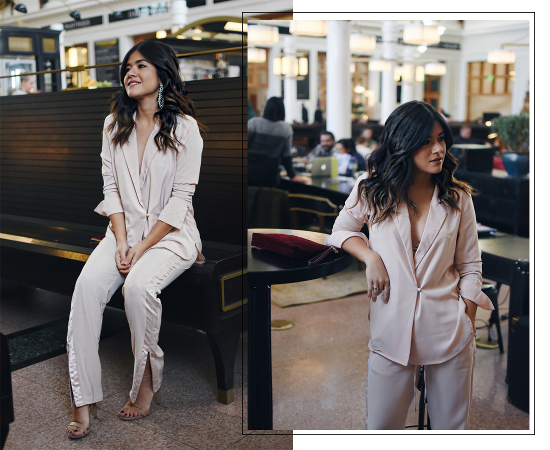 Carolina Hellal of Chic Talkw wearing the H&M holiday collection, Steve Madden nude sandals and Old Navy burgundy velvet clutch