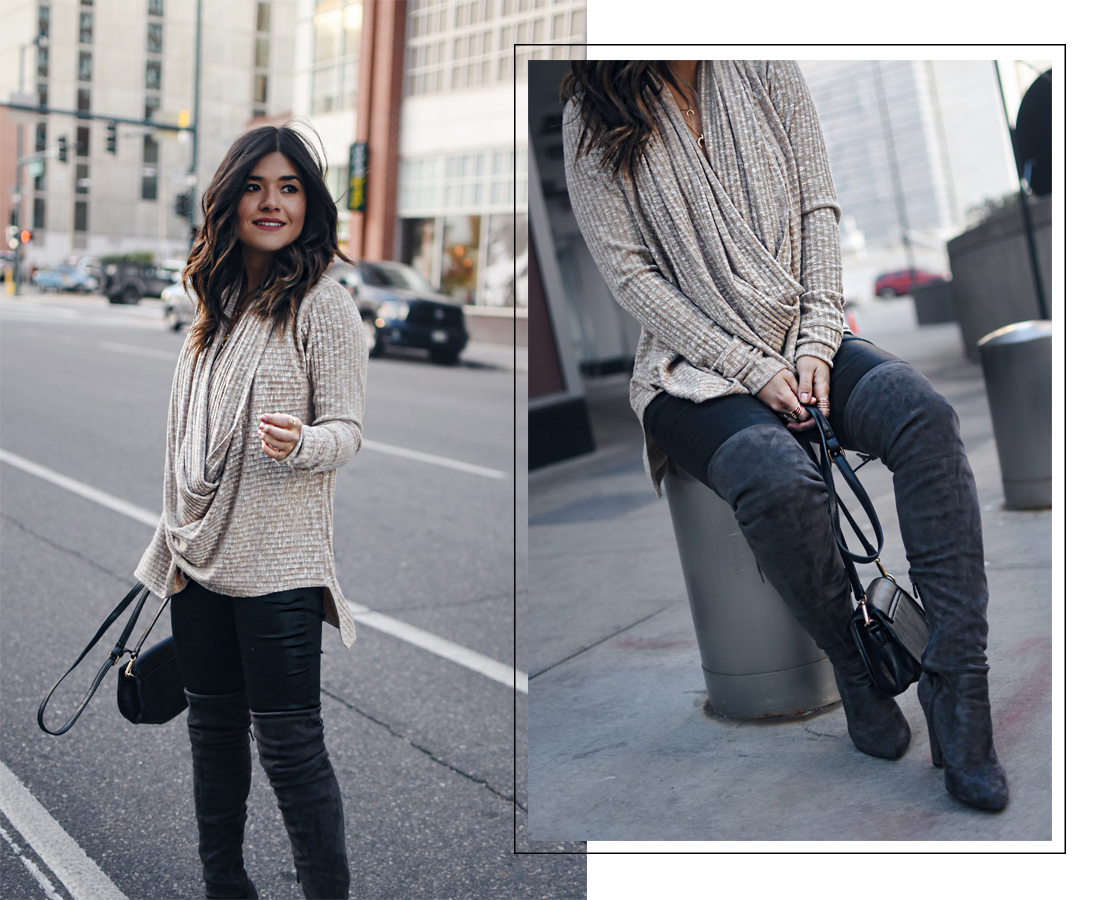 Carolina Hellal of Chic Talk wearing the Jessica sweater via Evy's tree, Public Desire over the high boots, and Madewell coated jeans.