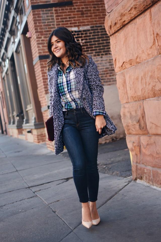 Carolina Hellal of Chic Talk wearing Old Navy rockstar skinny jeans, Dark grey coat, plaid top and Burgundy velvet clutch