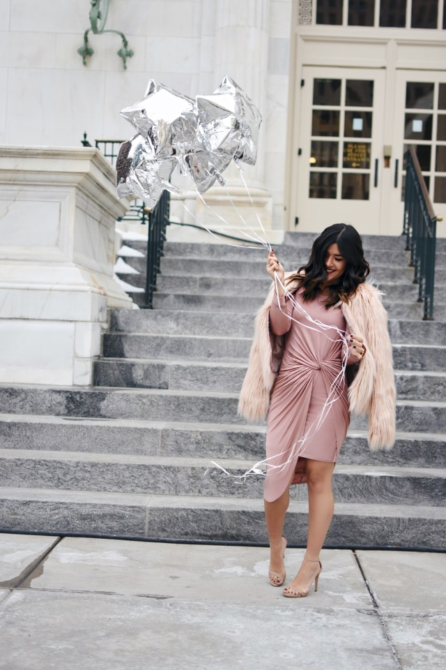 Carolina Hellal of Chic Talk wearing a Revolve blush dress, Shein faux fur coat, Steve Madden Sandals and H&M silver rings