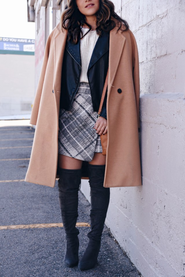 Carolina Hellal of Chic Talk wearing a Chicwish camel coat, plaid skirt, Topshop faux leather jacket, and Public Desire over the knee boots
