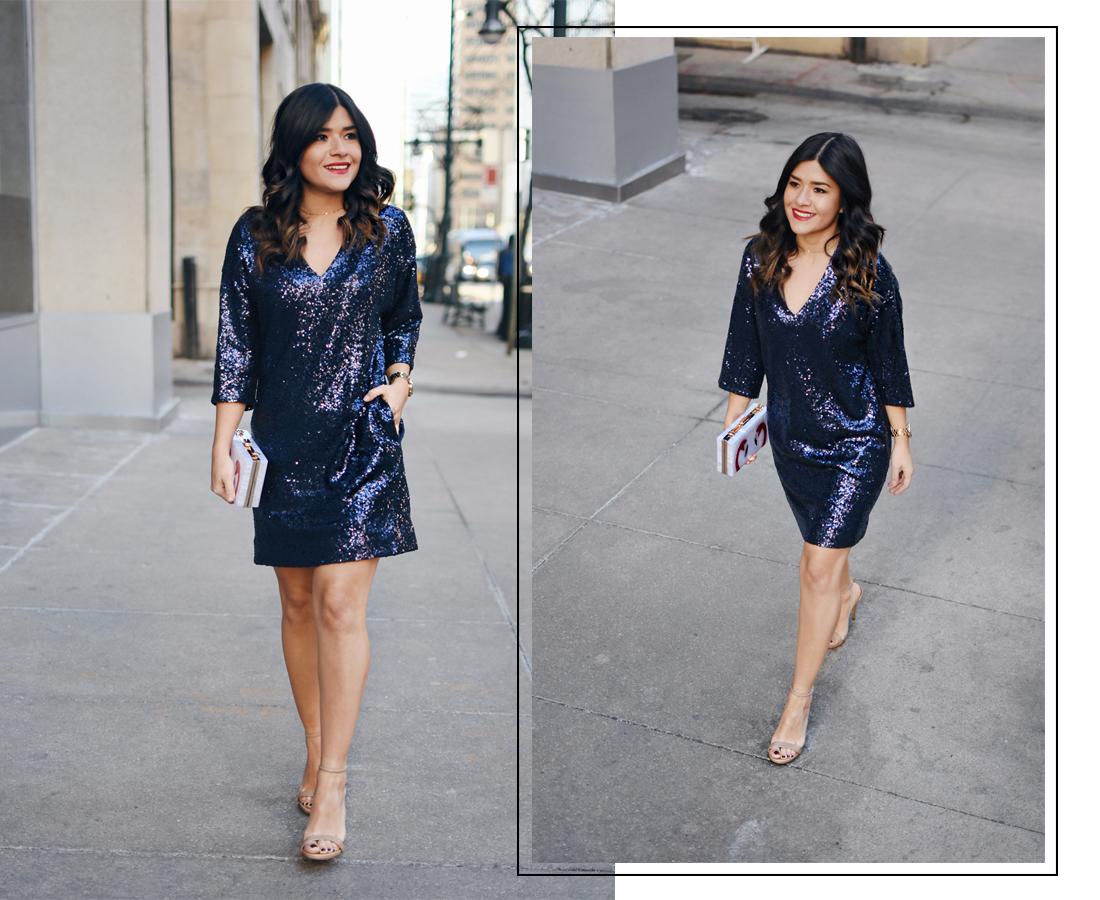 Carolina Hellal of Chic Talk wearing blue sequin dress via Thacker NY