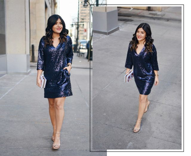 Carolina Hellal of Chic Talk wearing blue sequin dress via Thacker NY