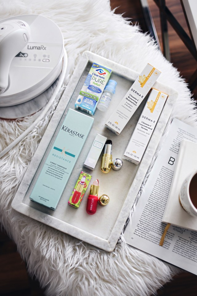 Start Studded style secrets Babbleboxx- Kerastase ciment thermique, Winky Lux flower balm and stella marina lipstick, clear eyes pure relief and LumaRX full body device