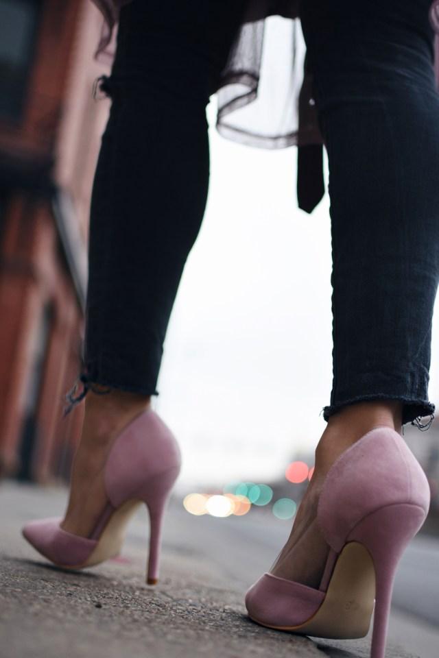 Public Desire baby pink pumps