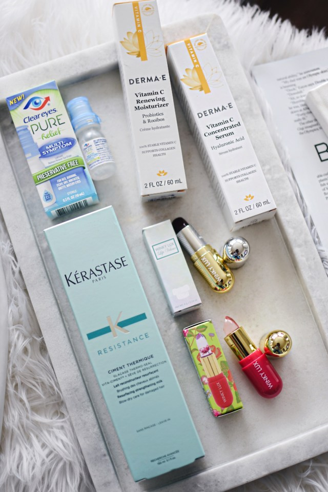 Start Studded style secrets Babbleboxx- Kerastase ciment thermique, Winky Lux flower balm and stella marina lipstick, clear eyes pure relief.