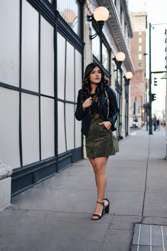Carolina Hellal of Chictalk wearing a Topshop mesh top and faux leather jacket, Chicwish corduroy skirt, Rebecca Minkoff bag, and strap sandals