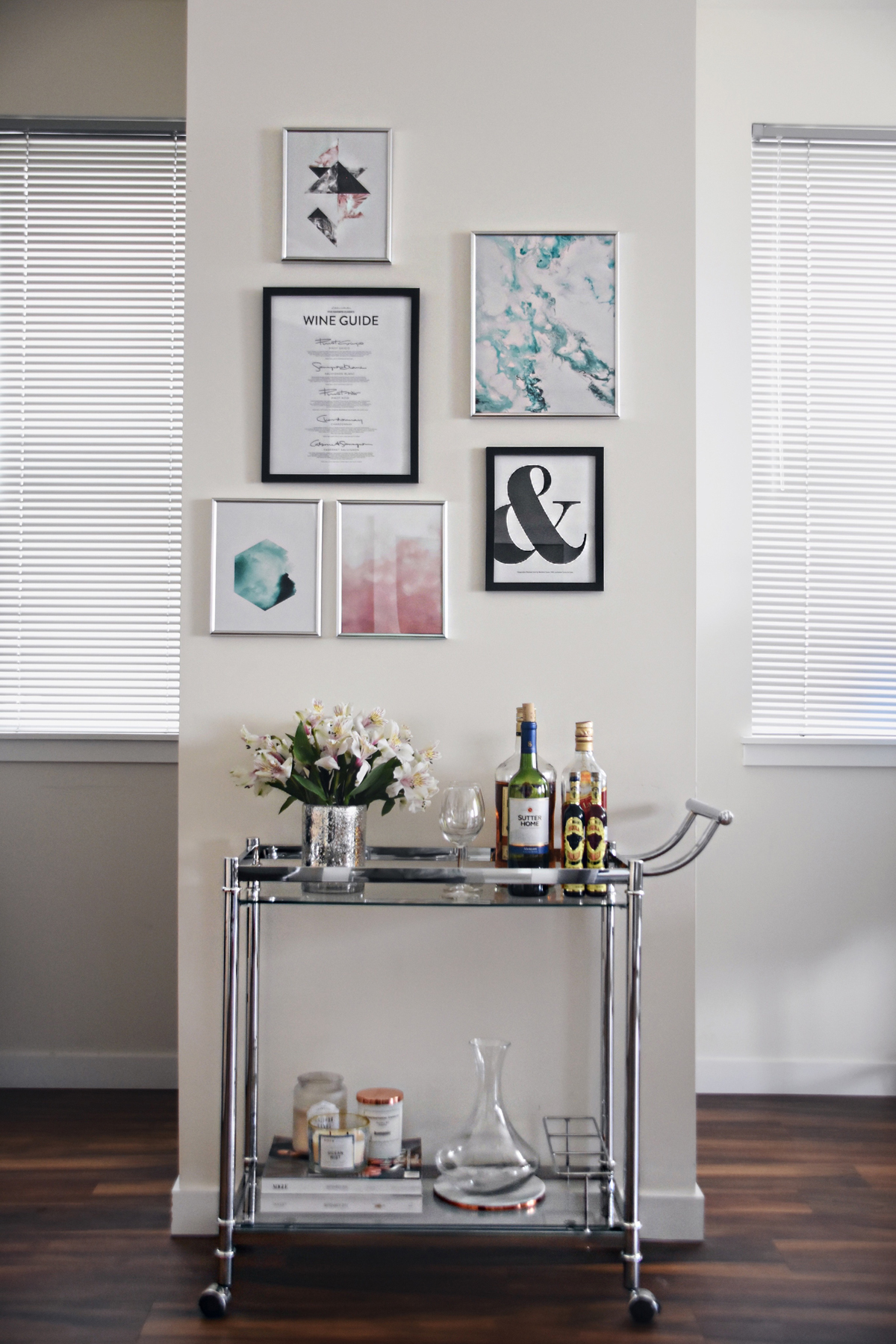 Desenio wall art, posters and Amazon Silver bar cart