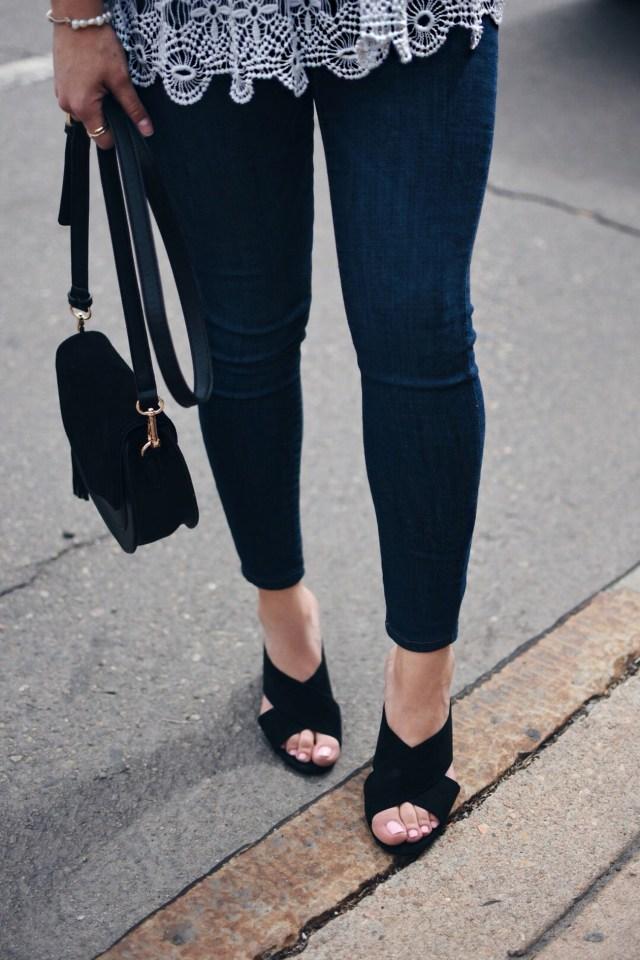 Carolina Hellal wearing a Chicwish grey knitted top,  skinny jeans , Rebecca Minkoff bags and NA-KD black mules