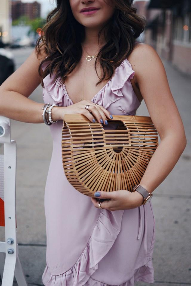 Carolina Hellal of Chic Talk wearing a Lioness caliente ruffle dress via Shopbop, Cultgaia bag and Rebecca Minkoff sandals.