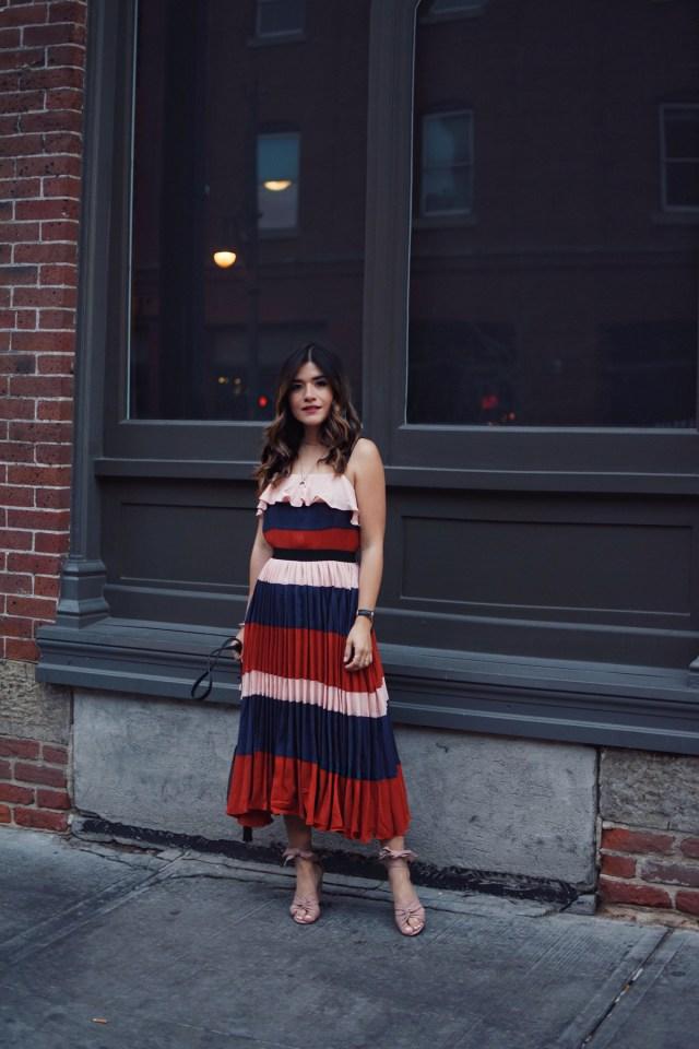 Carolina Hellal of Chic Talk wearing an Endless Rose striped midi dress via shopbop