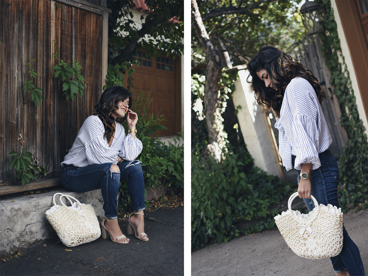 Carolina Hellal of Chic Talk wearing a Shein striped top, Madewell jeans, public Desire sandals and Shein beach bag