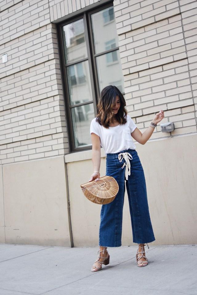 Carolina Hellal of Chic Talk wearing Topshop deni culottes, H&M basic t-shirts, Cultgaia ark bag and Rebecca Minkoff bag