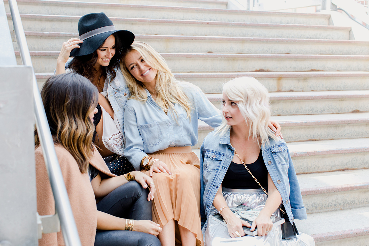 Carolina Hellal, Desire Falk, Alena Gidenko and Amber Wilkerson honoring Denver Blogger Mallory of Sweet & Sauer