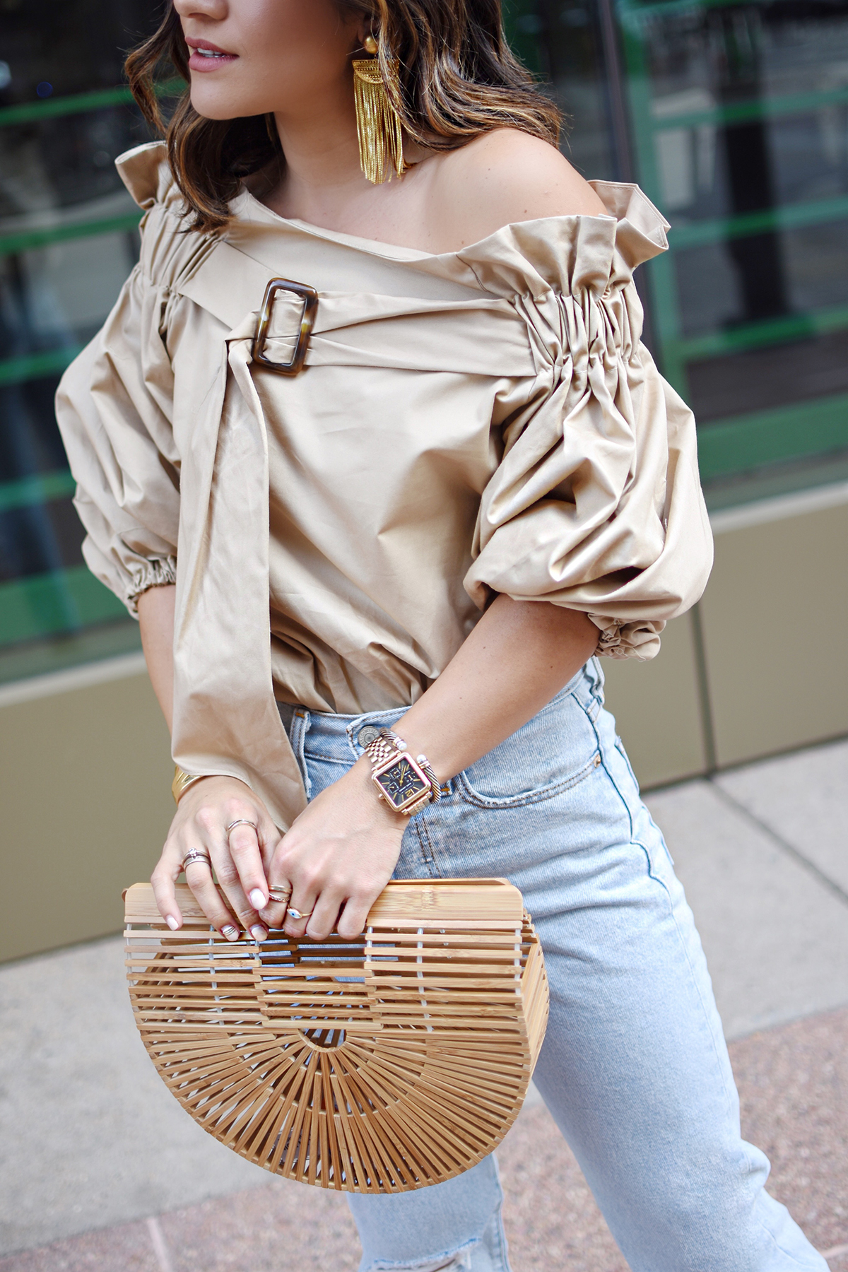 Carolina Hellal of Chic Talk wearing a Style Mafia beige belted top, 501 levis , cultagaia ark bag and steve madden strap sandals