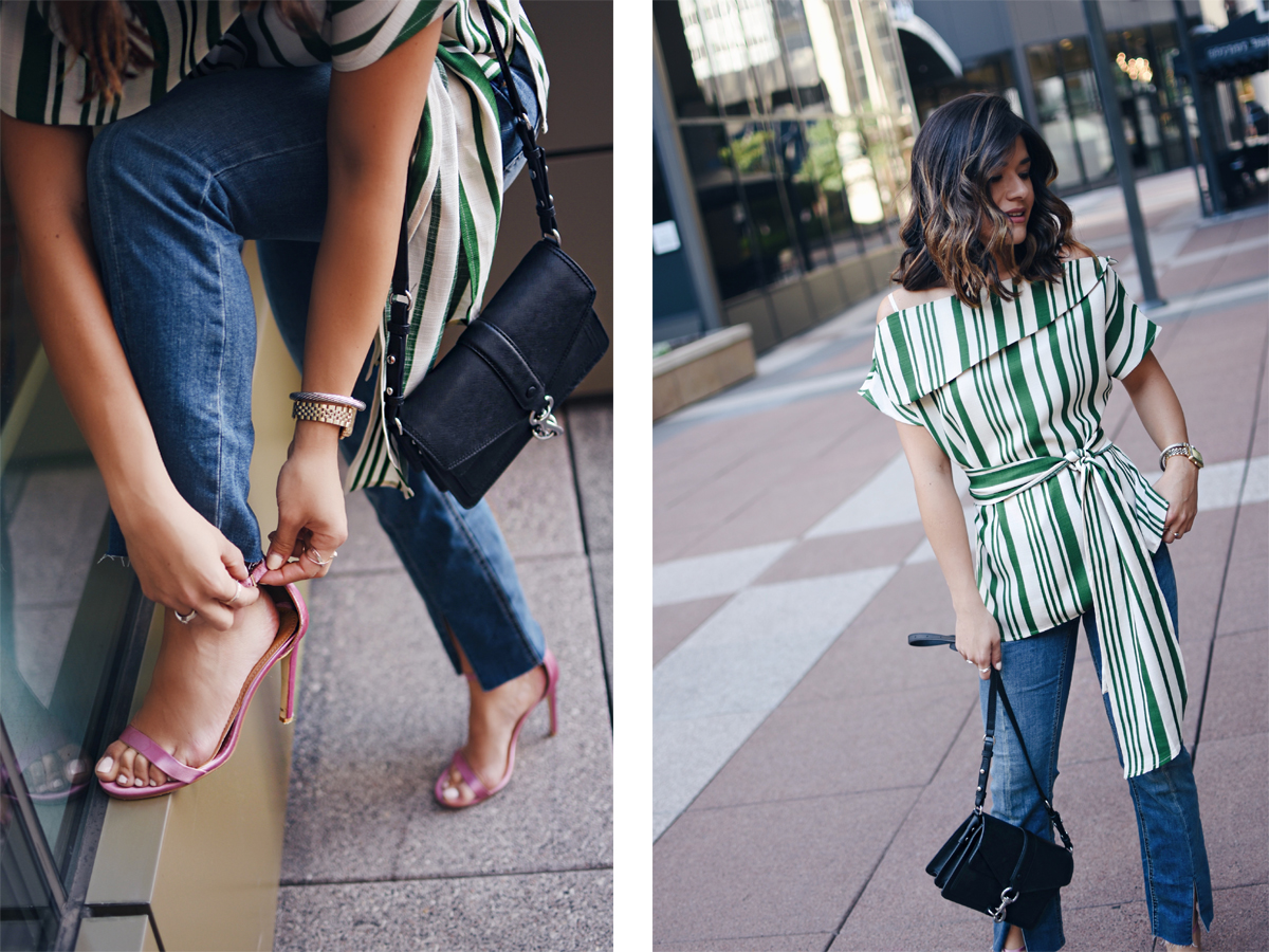 Carolina Hellal of Chic Talk wearing a J.O.A top, Free People jeans, Public Desire sandals and Rebecca Minkoff