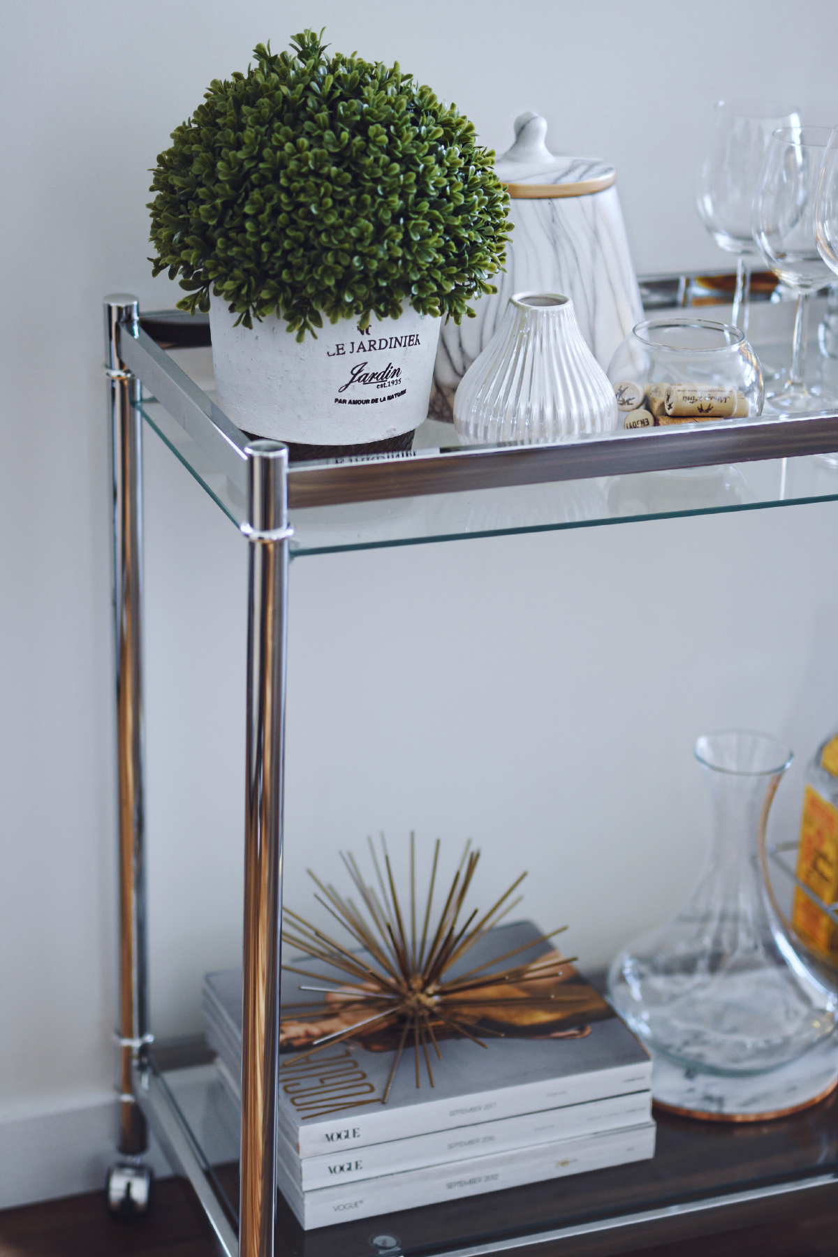 how to decorate a bar cart with Gordmans product