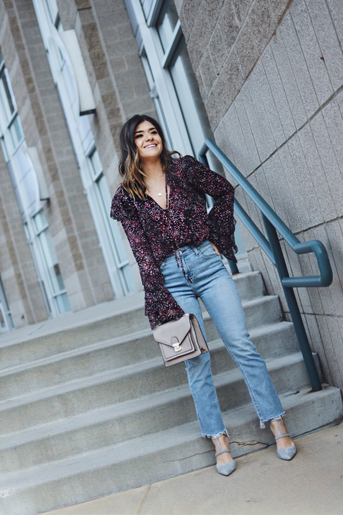Carolina Hellal of Chic Talk wearing a Parker NY Keenya blouse, Public Desire over the knee boots and Bauble Bar earrings