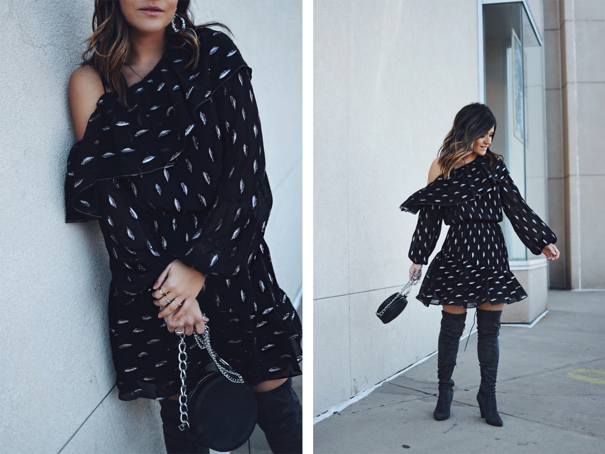 Carolina Hellal of Chic Talk wearing a Parker NY shelly dress, Public Desire over the knee boots and Bauble Bar earrings